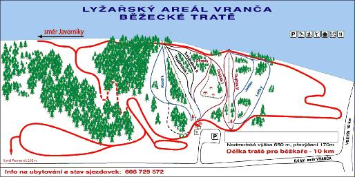 Mapa Lyžařského areálu Vranča